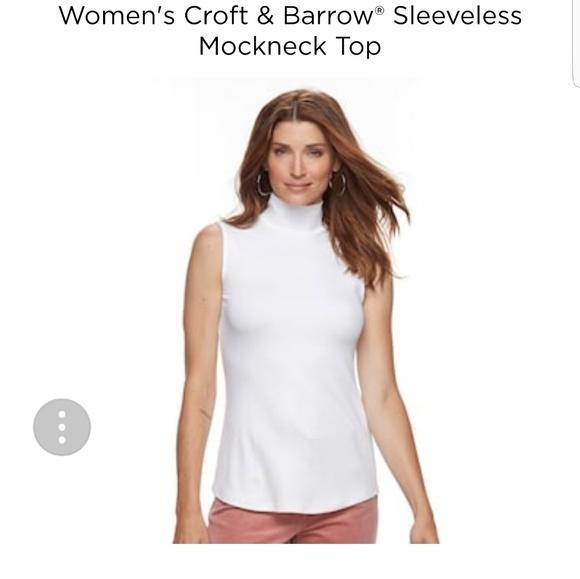 65e426e0ecc52 croft   barrow Tops - White ribbed sleeveless turtleneck